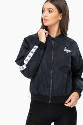 HYPE BLACK SCRIPT TAPE WOMEN'S CROP BOMBER JACKET