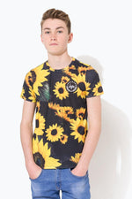 HYPE BLACK SUNFLOWER CREST KIDS T-SHIRT