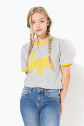 HYPE GREY RINGER SCRIPT KIDS CROP T-SHIRT