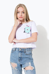 HYPE WHITE ROSE POCKET KIDS CROP T-SHIRT