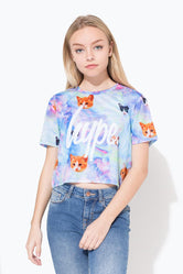 HYPE FAIRY CATS SCRIPT KIDS CROP T-SHIRT