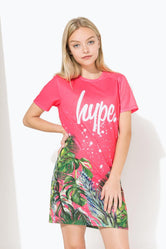 HYPE PINK TROPICS SCRIPT KIDS T-SHIRT DRESS