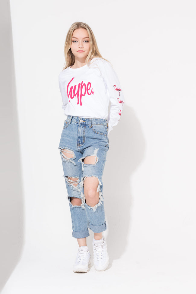 HYPE WHITE FLAMINGO SCRIPT KIDS L/S T-SHIRT