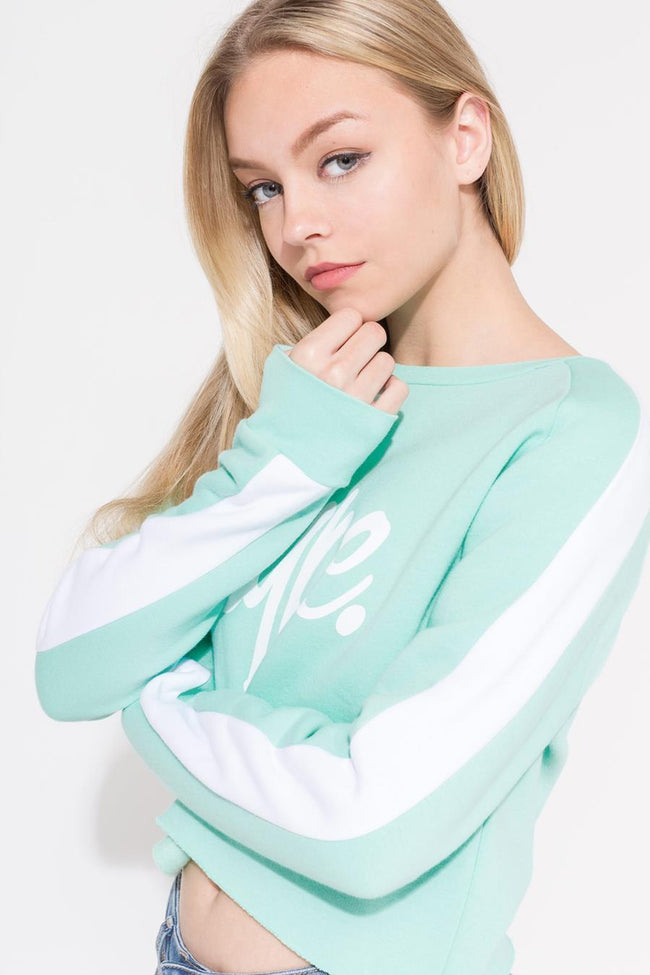 HYPE MINT SIDE STRIPE SCRIPT KIDS CROP CREWNECK