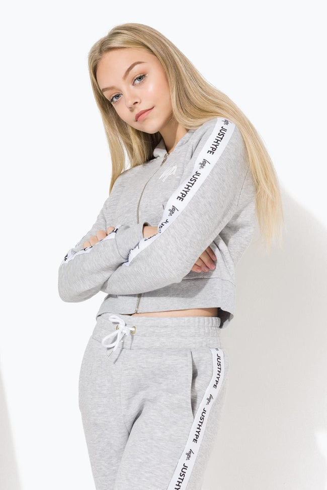 HYPE GREY JUST HYPE TAPE KIDS CROP HOODIE