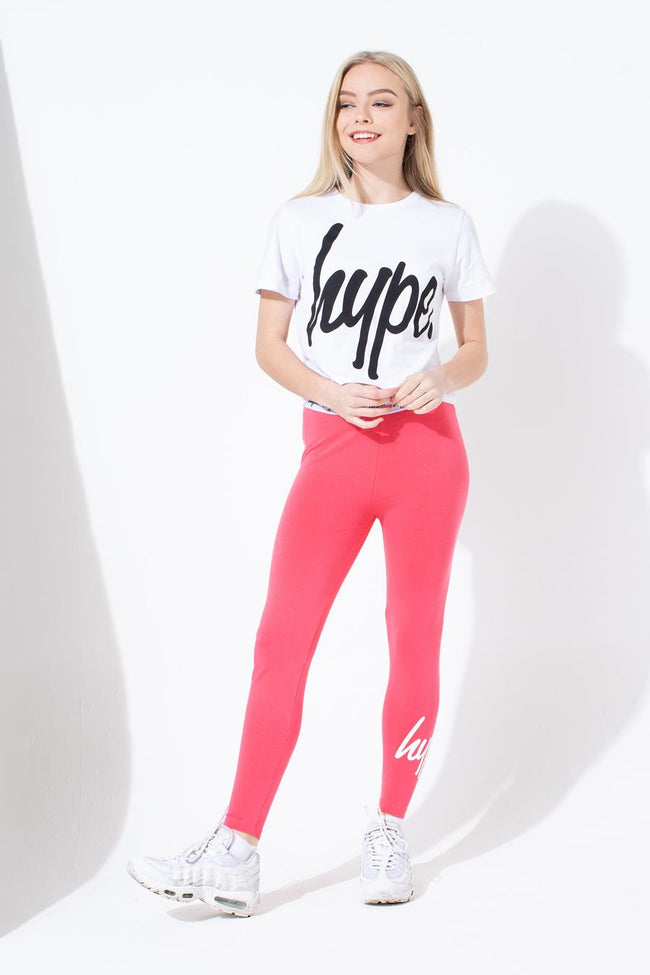 HYPE PINK SCRIPT KIDS LEGGINGS