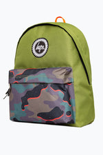 HYPE OLIVE NEON CAMO POCKET BACKPACK