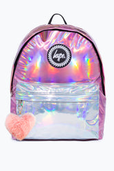 HYPE PINK HOLOGRAPHIC MIX POM POM  BACKPACK