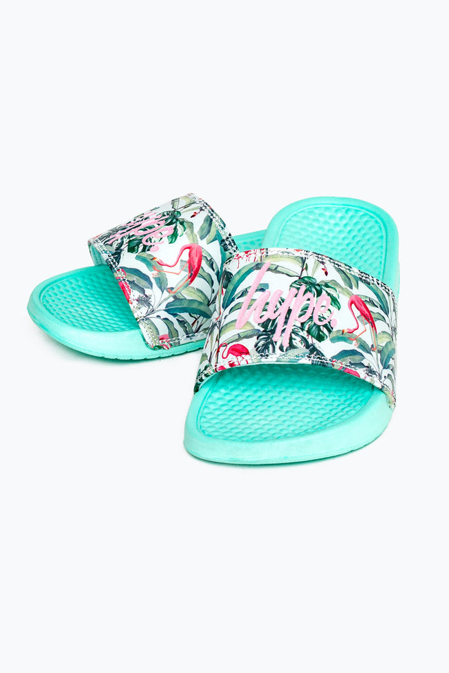 HYPE MINT FLAMINGO PARADISE KIDS SLIDERS