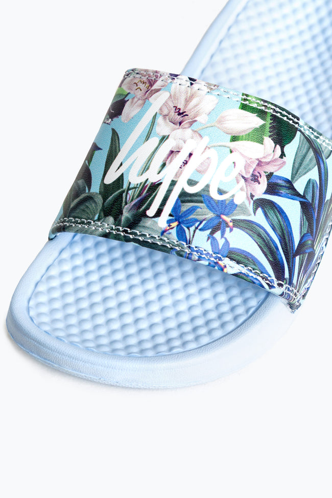HYPE BLUE PASTEL FLORAL KIDS SLIDERS