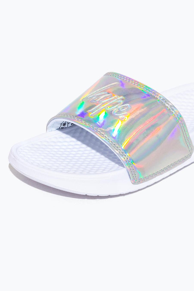 HYPE SILVER HOLOGRAPHIC SCRIPT KIDS SLIDERS