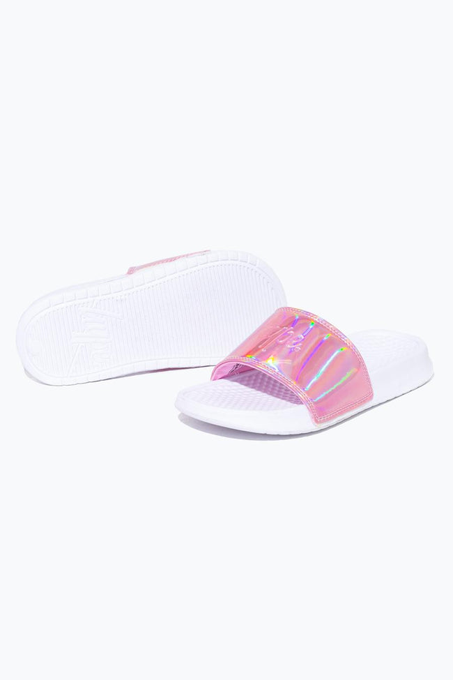 HYPE PINK AURORA HOLOGRAPHIC SLIDERS