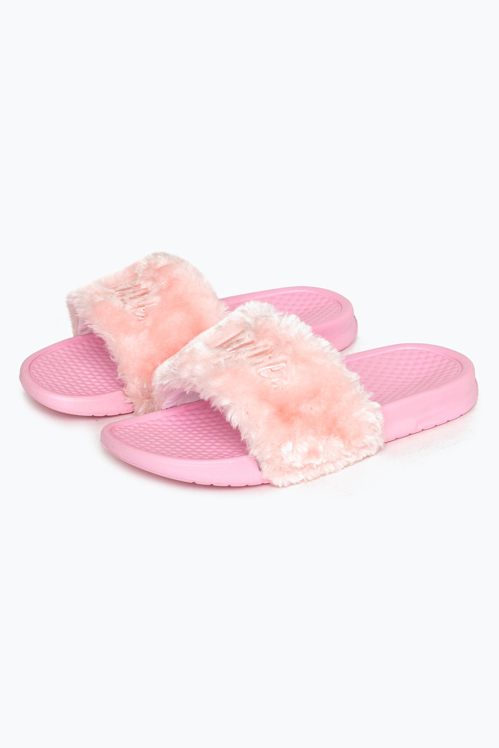 Hype Pink Fluffy Script Sliders | Size 5
