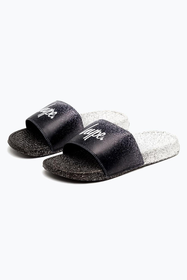 HYPE BLACK MONO SPECKLE FADE SLIDERS