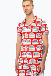 HYPE BUDWEISER CUBAN COLLAR MEN'S SHIRT