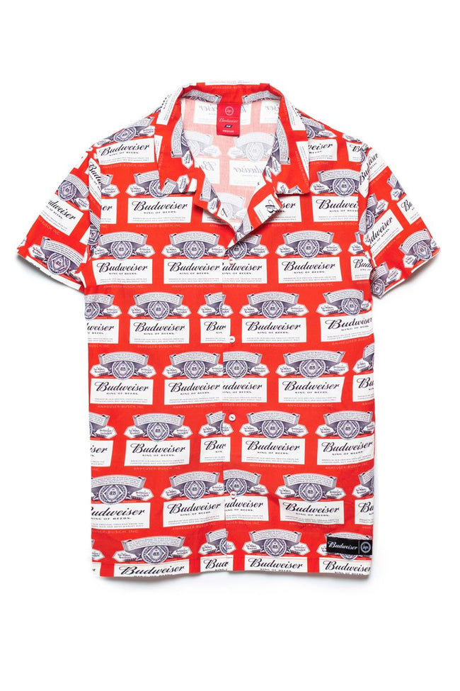 HYPE BUDWEISER CUBAN COLLAR MENS SHIRT