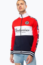 HYPE BUDWEISER COLOURBLOCK MENS QUARTER ZIP JACKET