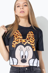 HYPE DISNEY MINNIE PEEK KIDS CROP T-SHIRT