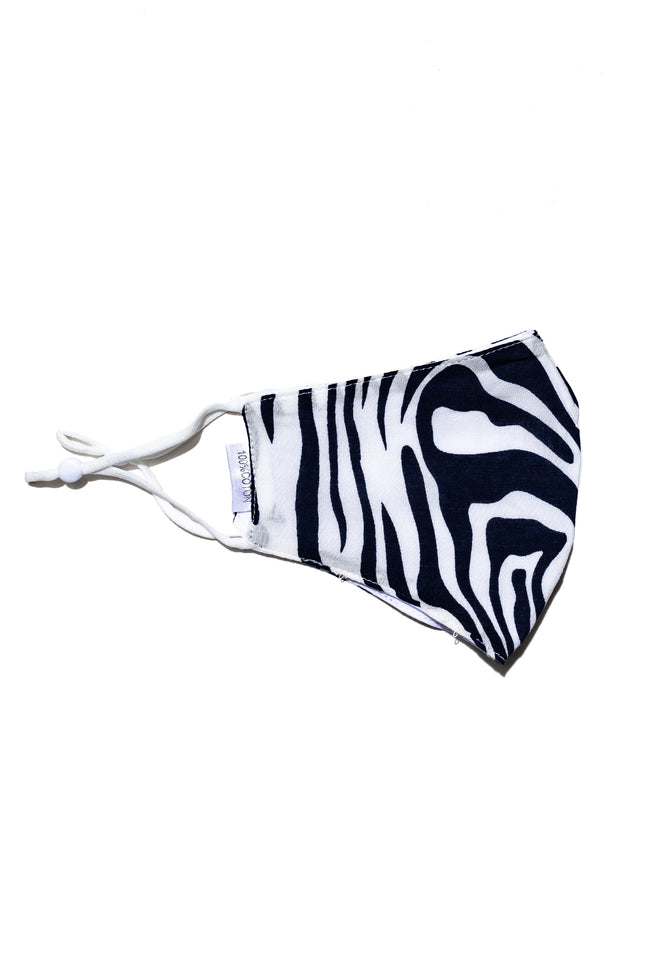 HYPE ADULT NAVY ZEBRA STRIPES FACE MASK