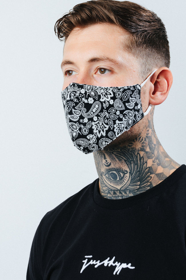 HYPE ADULT BLACK PAISLEY PRINT FACE MASK