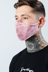 HYPE ADULT RED PAISLEY PRINT FACE MASK