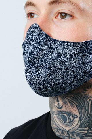 HYPE ADULT NAVY LINED PAISLEY FACE MASK