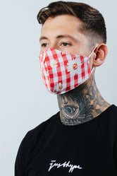 HYPE ADULT RED CHECK DAISY FACE MASK