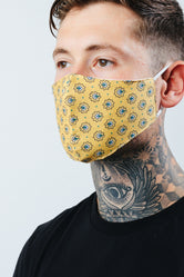 HYPE ADULT YELLOW FLORAL REPEAT FACE MASK