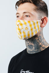 HYPE ADULT YELLOW CHECK DAISY FACE MASK