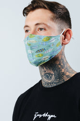 HYPE ADULT AQUA AZTEC FEATHERS FACE MASK