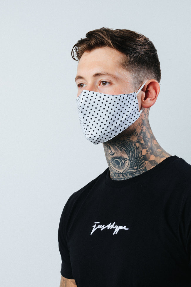 HYPE ADULT WHITE DOTTY FACE MASK