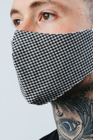 HYPE ADULT BLACK GINGHAM CHECK FACE MASK