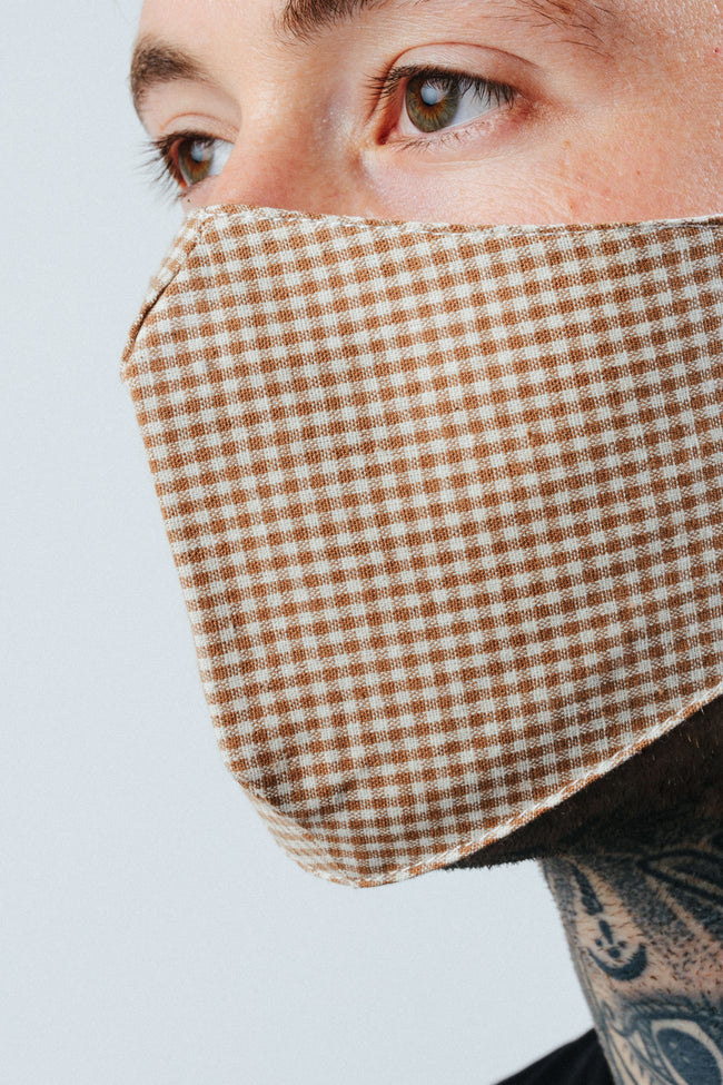 HYPE ADULT SAND GINGHAM CHECK FACE MASK