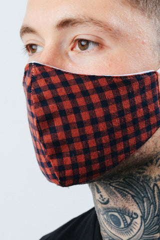 HYPE ADULT RUST CHECKERED FACE MASK