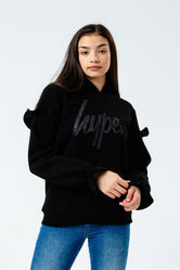 HYPE BLACK GLITTER FRILL KIDS PULLOVER HOODIE