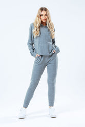 HYPE GREY FAUX KNIT WOMEN'S TRACKSUIT SET
