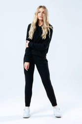 HYPE BLACK FAUX KNIT WOMEN'S TRACKSUIT SET