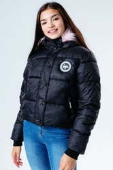 HYPE BLACK PINK HOOD KIDS CROP PUFFER JACKET