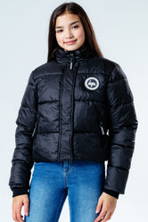 HYPE BLACK HOOD KIDS CROP PUFFER JACKET
