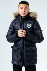 HYPE BLACK FAUX FUR HOOD KIDS EXPLORER JACKET