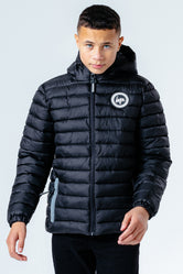 HYPE BLACK BRANDED ZIP KIDS PUFFER JACKET