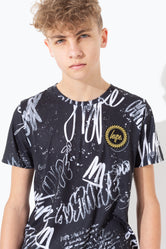HYPE MONO GRAFFITI SPLAT GOLD FOIL KIDS T-SHIRT