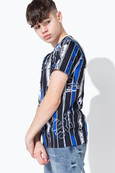 HYPE BLUE GRAFFITI STRIPE KIDS T-SHIRT