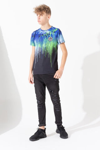 Hype Blue Green Graffiti Drips Kids T-Shirt