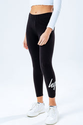 HYPE BLACK SCRIPT LOGO KIDS LEGGINGS