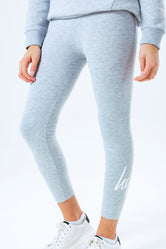HYPE GREY SCRIPT LOGO KIDS LEGGINGS