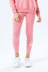 HYPE PINK SCRIPT LOGO KIDS LEGGINGS