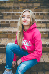 HYPE FUCHSIA HOLO SCRIPT KIDS PULLOVER HOODIE