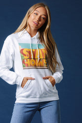 HYPE X CLASH WHITE 'STAY AT HOME' PULLOVER HOODIE