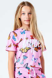 HYPE PINK BUTTERFLY KIDS CROP T-SHIRT